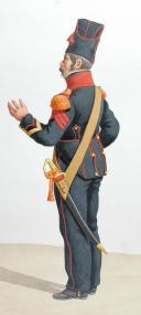 Photo 2 : 1820. Légions Légères. Sapeut (8e Légion - de l'Ariège), Sergent de Voltigeurs (85e Légion - des voges).