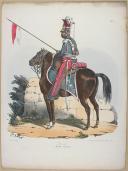 """BELLANGÉ - """" Lancier (Garde Royale) """" - Gravure - n° 4 - Restauration (1)"""