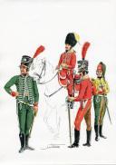 PÉTARD MICHEL, PLANCHE ORIGINALE AQUARELLÉE : ESPAGNE :  DRAGONS 1807, PREMIER EMPIRE.