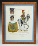 MUSICIEN TROMPETTE DE GROSSE CAVALERIE 1813-1815 : Gouache, Premier Empire.