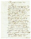 LETTRE DU SOLDAT HONORÉ BOULAY, 5ème Légion de réserve, 3ème Bataillon, 2ème Compagnie, À SON PÈRE notaire à Cheffes (près d'Angers), datée de Grenoble le 3 octobre 1807.