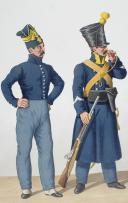 Photo 2 : 1830. Gendarmerie Royale. Bataillon de Voltigeurs Corses. Gendarme, Caporal, Clairon.