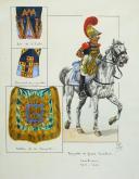Photo 2 : MUSICIEN TROMPETTE DE GROSSE CAVALERIE 1813-1815 : Gouache, Premier Empire.
