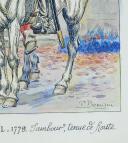 Photo 3 : PREMIER RÉGIMENT DE CHASSEUR À CHEVAL, 1779, TAMBOUR EN TENUE DE ROUTE, ANCIENNE MONARCHIE.