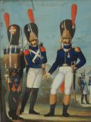 Photo 3 : « MANUSCRIT OTTO DE BADE » , GOUACHE ORIGINALE ALLEMANDE VERS 1807-1808, REPRÉSENTANT LES GRENADIERS À PIED DE LA GARDE IMPÉRIALE, PREMIER EMPIRE.