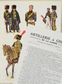"""L'ARMÉE FRANÇAISE Planche N° 74 : """"ARTILLERIE À CHEVAL DE LA GARDE - Officiers et Trompettes - 1800-1815"""" par Lucien ROUSSELOT et sa fiche explicative. (1)"""