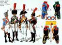 RIGO (ALBERT RIGONDAUD) : LE PLUMET PLANCHE 184 : INFANTERIE DE LIGNE CAPORAUX - TAMBOURS DES 3e, 9e, 18e et 88e REGIMENTS 1805-1810.