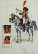Photo 2 : TROMPETTE DE GROSSE CAVALERIE CUIRASSIERS, 1813-1815 : Gouache, Premier Empire.