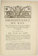 Photo 1 : ORDONNANCE DU ROY, pour l'incorporation du régiment d'Albanie dans les régimens de Royal-Écossois et d'Ogilvy. Du 20 décembre 1748. 4 pages