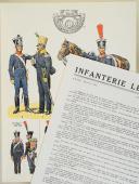 """L'ARMÉE FRANÇAISE Planche N° 76 : """"INFANTERIE LÉGÈRE - 1812-1815"""" par Lucien ROUSSELOT et sa fiche explicative. (1)"""