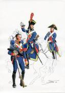 PÉTARD MICHEL, PLANCHE ORIGINALE AQUARELLÉE : ESPAGNE :  LÉGION ÉTRANGÈRE ET LANCIERS, 1808, PREMIER EMPIRE.