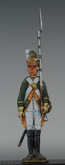 "Photo 1 : FIGURINE DEMI-RONDE BOSSE DRAGON 1779 DU RÉGIMENT ""JARNAC""."