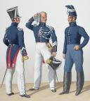 Photo 2 : 1830. Gendarmerie Royale. Département de la Corse. Brigadier à Cheval. Maréchal des Logis à Pied, Trompette.