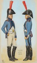 ROUSSELOT Lucien, Train d'Artillerie, vers 1803-1804, Consulat,AQUARELLE ORIGINALE. (1)
