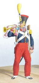 Photo 2 : Aquarelle originale par Auguste de MOLTZHEIM, 1830 Infanterie de ligne, Clairon et Lieutenant de Voltigeurs.