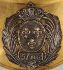 Photo 2 : HAUSSE-COL D'OFFICIER DU 57ème RÉGIMENT D'INFANTERIE DE LIGNE, MODÈLE 1814, RESTAURATION.