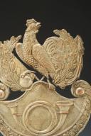 Photo 2 : PLAQUE DE SHAKO DE CHASSEURS DE LA GARDE NATIONALE, type 1830, Monarchie de Juillet.