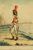 Photo 2 : OFFICIER DES GRENADIERS DU 3ème RÉGIMENT DE LA GARDE IMPÉRIALE, GRENADIER HOLLANDAIS : Gouache originale non signée, Premier Empire, 1809.