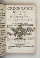 ORDONNANCE du Roi concernant le corps royal de l'artillerie du 3novembre 1776.