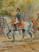 Photo 1 : TOUSSAINT MAURICE : AQUARELLE. NAPOLÉON 1er À CHEVAL, , DÉBUT XXème SIÈCLE.