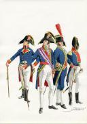 PÉTARD MICHEL, PLANCHE ORIGINALE AQUARELLÉE : ESPAGNE :  MARINE, PLANCHE N° 1, 1808, PREMIER EMPIRE.