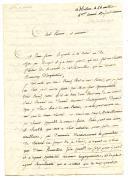 LETTRE DU SOLDAT DETRICHET, du 1er régiment de Dragons Cisalpins 4ème compagnie en garnison à Milan, À SON PARRAIN ET SA MARRAINE, 26 messidor an 6 (14 juillet 1798).