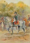 Photo 3 : TOUSSAINT MAURICE : AQUARELLE. NAPOLÉON 1er À CHEVAL, , DÉBUT XXème SIÈCLE.