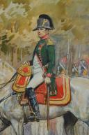 Photo 4 : TOUSSAINT MAURICE : AQUARELLE. NAPOLÉON 1er À CHEVAL, , DÉBUT XXème SIÈCLE.