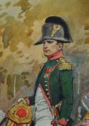 Photo 5 : TOUSSAINT MAURICE : AQUARELLE. NAPOLÉON 1er À CHEVAL, , DÉBUT XXème SIÈCLE.