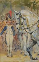 Photo 6 : TOUSSAINT MAURICE : AQUARELLE. NAPOLÉON 1er À CHEVAL, , DÉBUT XXème SIÈCLE.