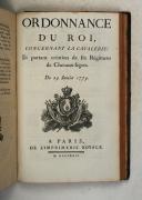 Photo 7 : ORDONNANCE du Roi concernant le corps royal de l'artillerie du 3novembre 1776.