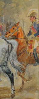 Photo 7 : TOUSSAINT MAURICE : AQUARELLE. NAPOLÉON 1er À CHEVAL, , DÉBUT XXème SIÈCLE.