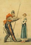 VERNET, « LE COSAQUE GALANT » : Gravure couleurs, Premier Empire.