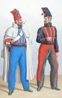 Photo 2 : 1822. Hussards. Hussard, Maréchal des Logis. (4e Régiment - du Nord), Maréchal-Ferrent (5e Régiment - Bas Rhin).