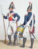 Photo 2 : 1830. Gendarmerie Royale de Paris. Brigadier à Cheval, Gendarme à Pied, Tambour.
