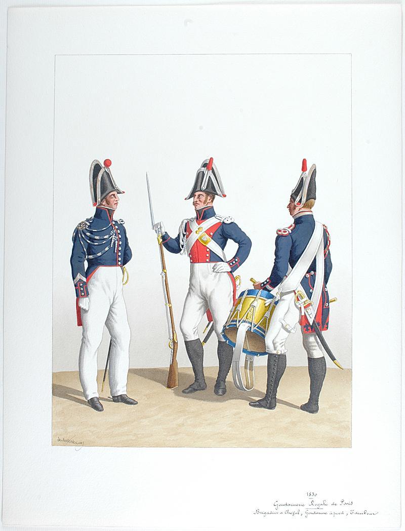 1830 gendarmerie royale de paris brigadier cheval gendarme pied tambour. Black Bedroom Furniture Sets. Home Design Ideas