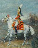 Photo 1 : LEVIER (Docteur) : HUILE SUR TOILE. MOUSQUETAIRE GRIS, 1ère COMPAGNIE, 1814, XXème siècle.