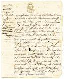 Guerres de Vendée, Armée de l'Ouest. CERTIFICAT DE BLESSURE POUR PIERRE COMANDEUX, natif de St Lambert, disrict de Saumur, grenadier du 1er Bataillon de Saumur, 6 Brumaire an II (27 octobre 1793).