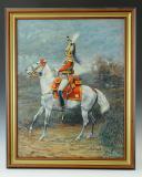 LEVIER (Docteur) : HUILE SUR TOILE. MOUSQUETAIRE GRIS, 1ère COMPAGNIE, 1814, XXème siècle. (2)