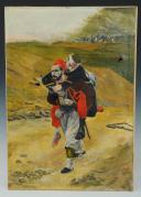 Photo 1 : GROLLERON : HUILE SUR TOILE. ZOUAVE D'INFANTERIE DE LIGNE PENDANT LA GUERRE DE 1870, XXème SIÈCLE.