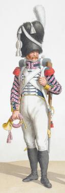 Photo 2 : 1818. Garde Royale. Infanterie. (3e Régiment), Cornet de Voltigeurs, Fifre de fusiliers.