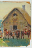 LUCIEN ROUSSELOT : HUILE SUR CARTON. SCÈNE DE COMBAT, 18° siècle. (4)