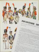 """L'ARMÉE FRANÇAISE Planche N° 89 : """"INFANTERIE DE LIGNE - Têtes de colonne - 1804-1812"""" par Lucien ROUSSELOT et sa fiche explicative. (1)"""