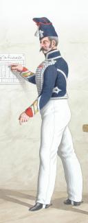Photo 2 : 1824. Hussards. Maréchal des Logis-Chef, Capitaine Adjudant-Major (5e Régiment - du Bas Rhin).