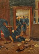 HUILE SUR TOILE : LA DERNIÈRE CARTOUCHE, GUERRE FRANCO-ALLEMANDE DE 1870, XXème SIÈCLE. (2)