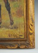 LALAUZE ALPHONSE : HUILE SUR TOILE, DRAGON DE NOAILLES, ANCIENNE MONARCHIE. (4)