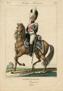 GENTY : TROUPES FRANÇAISES, PLANCHE 7, GARDE ROYALE - RÉGIMENT DRAGONS, 1816.