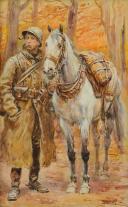 LALAUZE ALPHONSE : 4ème Régiment de Spahis, Gouache originale, 1920.