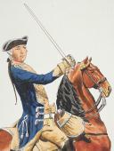 """Photo 2 : Condé cavalerie, 4 aquarelles originales par Lucien ROUSSELOT d'après """"La Sabretache"""", collection CARLET."""
