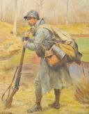 LALAUZE ALPHONSE : HUILE SUR TOILE, POILU DE LA GUERRE 1914-1918. (2)